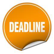 Deadline round orange sticker isolated on white Stock Illustration