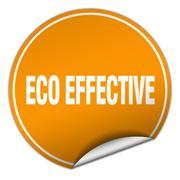 eco effective round orange sticker isolated on white - stock illustration