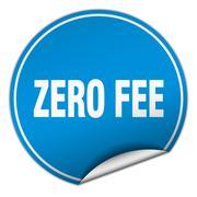 zero fee round blue sticker isolated on white - stock illustration