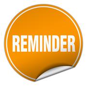 reminder round orange sticker isolated on white - stock illustration
