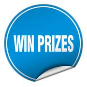 win prizes round blue sticker isolated on white - stock illustration