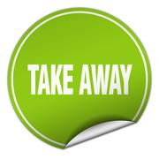 Stock Illustration of take away round green sticker isolated on white