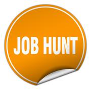 job hunt round orange sticker isolated on white - stock illustration