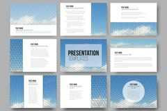 Set of 9 templates for presentation slides. Blue cloudy sky. Abstract Stock Illustration