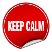 Stock Illustration of keep calm round red sticker isolated on white
