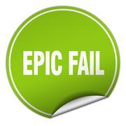 epic fail round green sticker isolated on white - stock illustration