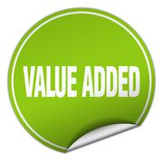 value added round green sticker isolated on white - stock illustration