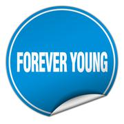 forever young round blue sticker isolated on white - stock illustration