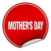 mother's day round red sticker isolated on white - stock illustration