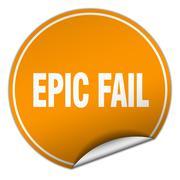 epic fail round orange sticker isolated on white - stock illustration
