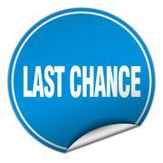 last chance round blue sticker isolated on white - stock illustration