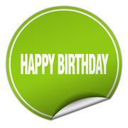 happy birthday round green sticker isolated on white - stock illustration