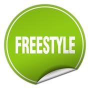 freestyle round green sticker isolated on white - stock illustration