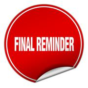Final reminder round red sticker isolated on white Stock Illustration
