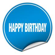happy birthday round blue sticker isolated on white - stock illustration