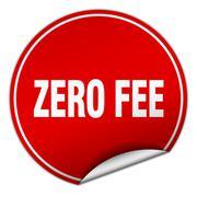 zero fee round red sticker isolated on white - stock illustration