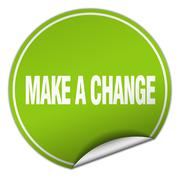 Stock Illustration of make a change round green sticker isolated on white
