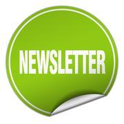 newsletter round green sticker isolated on white - stock illustration