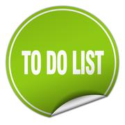 to do list round green sticker isolated on white - stock illustration