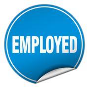 employed round blue sticker isolated on white - stock illustration