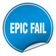 Stock Illustration of epic fail round blue sticker isolated on white