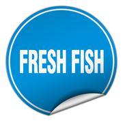 Fresh fish round blue sticker isolated on white Stock Illustration