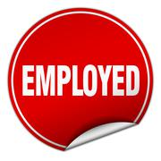 employed round red sticker isolated on white - stock illustration