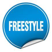 freestyle round blue sticker isolated on white - stock illustration
