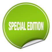 Stock Illustration of special edition round green sticker isolated on white
