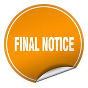 Final notice round orange sticker isolated on white Stock Illustration