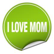 I love mom round green sticker isolated on white Stock Illustration