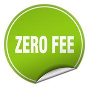 zero fee round green sticker isolated on white - stock illustration