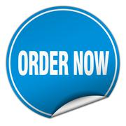 Stock Illustration of order now round blue sticker isolated on white