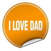 I love dad round orange sticker isolated on white Stock Illustration