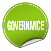 Stock Illustration of governance round green sticker isolated on white