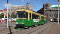 An electric tram (in 4k) in Helsinki, Finland. Stock Footage