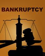 Bankruptcy with gavel and scales - stock photo
