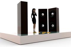 3d woman singing in music concert concept Stock Illustration