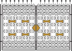Wrought Iron Gate, Door, Fence, Window, Grill, Railing Design - stock illustration