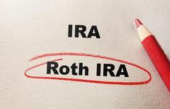 Roth IRA red circle - stock photo