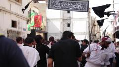 Bahrain, 23 October 2015: Procession of Shiite celebrations of the Day of Ashura Stock Footage