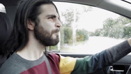 Stock Video Footage of hipster man listening rock music while driving car