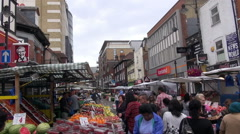 Multi Ethnic Shoppers in A London Street Market Stock Footage