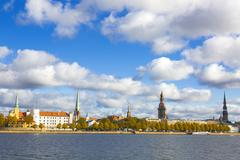 Stock Photo of view to the Riga oldtown over river Daugava, Latvia