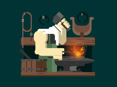 Blacksmith character cartoon - stock illustration