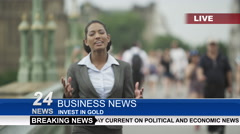 Stock Video Footage of 4K Female news reporter doing live piece to camera outdoors in city of London