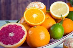 Assorted acid fruits Stock Photos