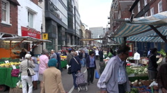 People Shopping At A London Street Market Stock Footage