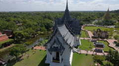 Aerial Video of  the Thai Ancient Palace at Ancient Siam Park in Thailand Stock Footage