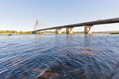 View of the Moskovsky  Bridge in Kiev Stock Photos